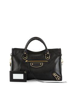 Metallic Edge Golden City Bag, Black by Balenciaga at Neiman Marcus.