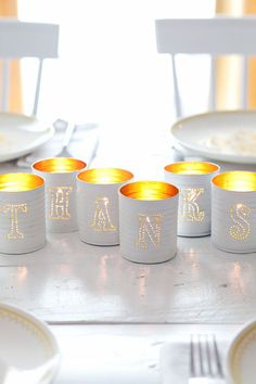 Tin-punched candle holders DIY