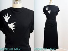 1940s dress/ 40s beaded birds/ black rayon by MidnightMart on Etsy, $125.00
