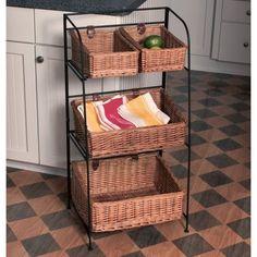 3 Tier Fruit Basket Stand Tier Wicker Basket Kitchen