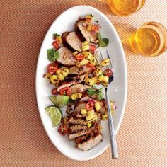 Caribbean Grilled Pork Tenderloin with Grilled Pineapple Salsa | MyRecipes.com #myplate #protein #fruit #veggies