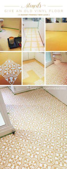 Cutting Edge Stencils shares a DIY vinyl bathroom floor makeover using the Augusta Tile Stencil. http://www.cuttingedgestencils.com/augusta-tile-stencil-design-patchwork-tiles-stencils.html