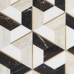 Decade Saint Laurent Polished Marble and Brass Mosaic Saint Laurant, Decorative Wall Tiles, Contrast Lighting, Unique Flooring, Hexagon Pattern, Wall And Floor Tiles, Brass Material, Art Deco Design, Outdoor Walls