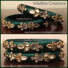 """To order Whatsapp +91 9791090024 For more collections visit """"www.facebook.com/infalliblecreationzsilk"""". Silk Thread jewelry, silk thread bangles, silk thread bridal bangles, wedding bangles, Bridal Bangles, engagement bangles, bangles, seemandham bangles, party wear bangles, silk thread jewellery, handmade jewelry, infallible creationz, Silk Thread Kundan Bangles, Kundan Worked Bangles, Raw Silk Bangles, Kundan Bangles, Kada Bangles, Silk Thread jewellery, Designers Bangles"""