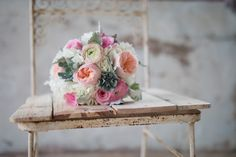 Blush, pink and white bridal bouquet by Blossom Bliss Florist - Historic Shady Lane wedding photographer