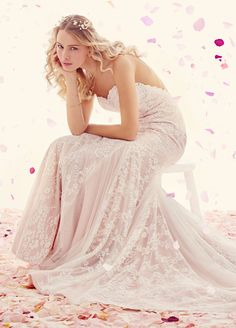 Ivory Lace over tea-rose lining modified A-line bridal gown. Scalloped sweetheart neckline with thin spaghetti straps and English Net godets at skirt. Bridal Gowns, Wedding Dresses from Ti Adora by Alvina Valenta - JLM Couture - Bridal Style 7510 by JLM Couture, Inc.