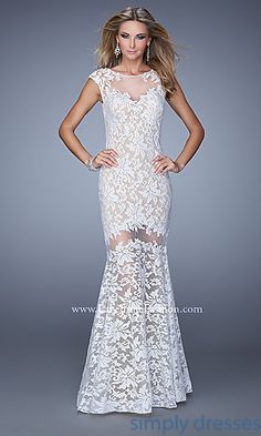 Floor Length Lace Dress by La Femme at SimplyDresses.com