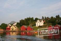 Norwegian Shoreline Summer Cottages on the by LoudWaterfallPhoto, $26.00