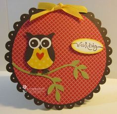 handmade card ... circle ... Fall colors ... owl from owl puncn ... Stampin' Up!