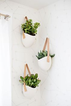 Pretty modern planters from Light + Ladder on Etsy.  In the shower?