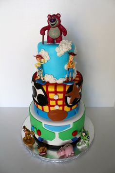 Toy Story Cake... It would also be fun to do references from each film (1, 2 & 3) on each layer on the cake; hence why Lotso would be on top. I love the Woody & Buzz patterns too!