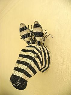 African Beaded Wire Animal Sculpture  ZEBRA TROPHY Head  by Hadeda