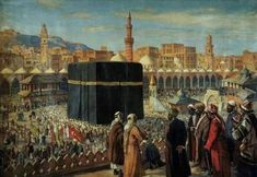 The Kaaba in Makkah during Ottoman era. Beautiful place at wonderful times. History Of Islam, Art History, Islamic World, Islamic Art, Art Arabe, Arabian Art, Buch Design, Islamic Paintings, Inspirational Artwork