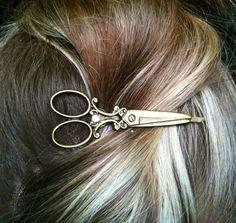 Scissor bobby pin silver or bronze shears por AnnabellandLouise
