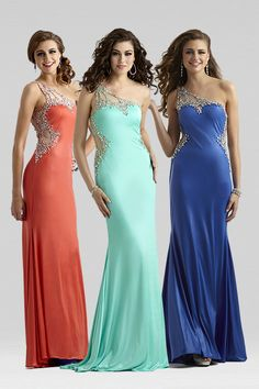 Clarisse 2014 Black Royal Blue Aqua Ice Papaya Raspberry One Shoulder Stretch Jersey Beaded and Sequin Sheer Prom Dress 2381 | Promgirl.net