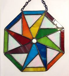 Handmade Rainbow Geometric Octagon Wheel Abstract by BRGlassWorks