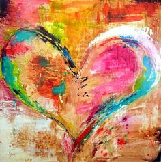 Colorful heart painting modern art, heart painting, love canvas painting, c Art Journal Inspiration, Painting Inspiration, Collage Magazine, Artist Canvas, Canvas Art, Framed Canvas, Mini Canvas, Heart Painting, Painting Art