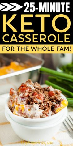 This easy keto casserole recipe is ready in only 25 minutes and is PERFECT for the whole family! This family keto recipe is loaded with yummy cheese, ground beef, spices, and more. You won't believe how easy it is to get this keto dinner recipe on the table! This super delicious keto beef recipe is sure to delight and contains only 6.4g net carbs per generous serving. Enjoy! Ground Beef Keto Recipes, Ground Beef Recipes For Dinner, Low Carb Recipes, Cooking Recipes, Diabetic Recipe With Ground Beef, Recipes Dinner, Beef Casserole Recipes, Ground Beef Casserole, Keto Casserole