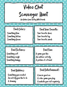 Check out this Video Chat Scavenger Hunt Printable! It's a great way to connect with family and friends even when you're apart. games for toddlers Team Building Activities, Therapy Activities, Learning Activities, Icebreaker Activities, Camping Activities, Social Emotional Activities, Team Building Exercises, Learning Stations, Leadership Activities