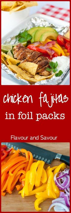Easy Chicken Fajitas in Foil Packets. Grilling season is here! These easy to assemble chicken fajita meals can be ready for your grill at home or for your next camp-out. Click for the recipe. |www.flavourandsavour.com