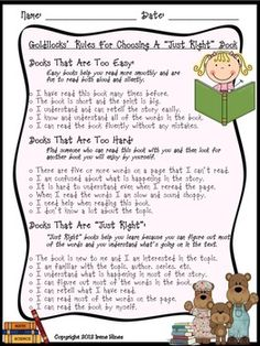 "READING WORKSHOP: Goldie Socks and the Three Libearians is an adorable retelling of the classic fairytale, Goldilocks and The Three Bears. This book is the perfect story for children (and their parents) to understand what ""just right book"" reading is all about. Choosing a ""just right"" book is an important skill for all students. One of the author's purposes in this book is to inform the reader about the five finger rule."