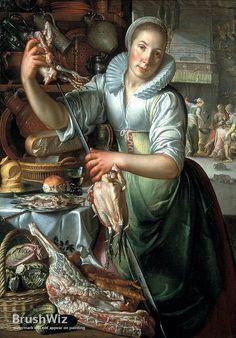 The Kitchen Maid by Joachim Wtewael - Oil Painting Reproduction - BrushWiz.com