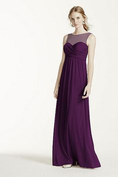 MORE COLORS Long Mesh Dress with Illusion Neckline Style F15927 In Store & Online $159.00