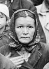 Maria Tchebotareva. Trying to feed her 4 hungry children during the massive 1932-33 famine, she allegedly stole 3 pounds of rye from her former field—confiscated by the state as part of collectivization. Sentenced to ten years in the Gulag. When her sentence ended in '43, it was extended till '45. After release, she was required to live near her Gulag camp north of the Arctic Circle, and she was not able to return home until 1956, after the death of Stalin. She never found her children.