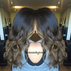 Natural dark brown with ash ombre balayaged ends