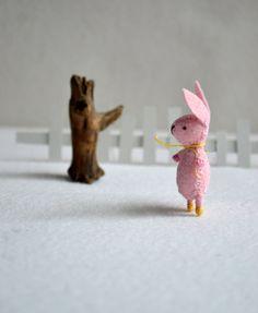 pink miniature felt bunny by RoyalMint on Etsy, $28.00