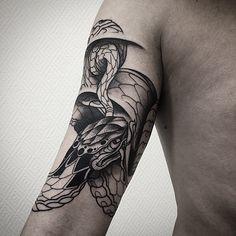 """evgenykopanov: """"Snake in progress on Alexander's biceps. #snaketattoo #outline #linework #black #art """""""