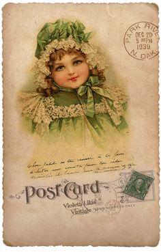 Violeta lilás Vintage: Cartões Postais Crianças Vintage e Vitorianas