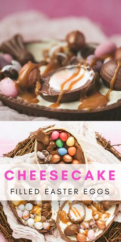 Easter Egg Cheesecake Learn how to put together this super simple Easter dessert in 20 minutes! A chocolate Easter egg filled with a no bake cheesecake mixture and topped with Easter chocolate and tre Desserts Ostern, Easy Easter Desserts, Easter Treats, Easter Recipes, Christmas Desserts, Dessert Recipes, No Bake Cheesecake Filling, Turtle Cheesecake Recipes, Easter Eggs