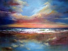 Official website of contemporary Irish artist, Donna McGee. Vibrant and atmospheric oil paintings inspired by the timeless beauty of the Irish landscape. Irish Painters, Blue Sunset, Irish Landscape, Painting Competition, Beach Watercolor, Art Competitions, Sky And Clouds, Online Art Gallery, American Art