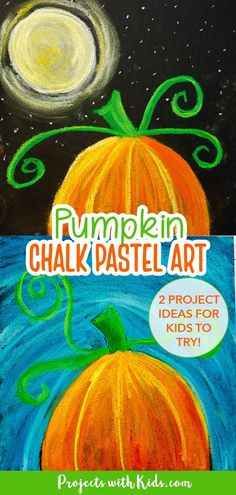 Kids will learn easy chalk pastel techniques to create this gorgeous pumpkin chalk pastel art done in 2 ways. This project can be used as a fall art activity or Halloween art project. Step by step tutorial. Pastel Sunset, Sunset Art, Chalk Pastel Art, Chalk Pastels, Art Activities For Kids, Art For Kids, Thanksgiving Drawings, Moon Projects, Halloween Art Projects
