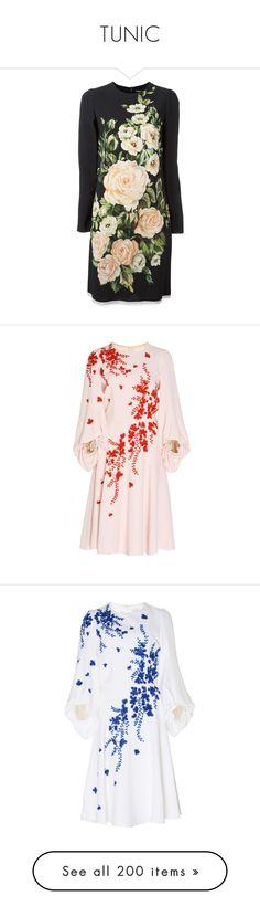 """TUNIC"" by prettyangel-1 ❤ liked on Polyvore featuring dresses, day dresses, black, shift dress, back zipper dress, multi coloured dress, midi shift dress, long-sleeve shift dresses, pink knee length dress and flower embroidered dress"