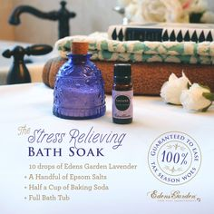 we have a Stress Relieving Bath Soak to ward off the worries! For 20 minutes, sit in a hot bath that contains a handful of Epsom salts, 10 drops of Edens Garden Lavender essential oil, and a half cup of baking soda. This mix of essential oils and simple ingredients can help draw out toxins, lower stress-related hormones, and balance your pH levels. Bottom lines are no match.  ‪#‎essentialoils‬ ‪#‎edensgarden‬ ‪#‎homeremedy‬ ‪#‎stressfree‬ ‪#‎naturalremedy‬ ‪#‎homeDIY‬ ‪#‎naturalliving‬