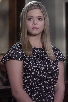 Ali's black floral pleated front dress on Pretty Little Liars.  Outfit Details: http://wornontv.net/46936/ #PLL