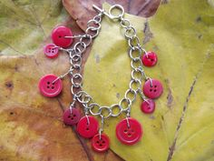 Button charm bracelet- RUBY RED