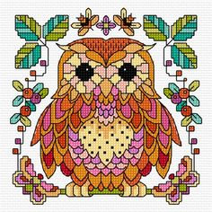 Cross stitch charts brings the festival decoration look in the home. From fun and funky to classic and elegant, we've got a selection of all the cross stitch patterns you'll ever need. Celtic Cross Stitch, Cross Stitch Owl, Cross Stitch Cards, Cross Stitch Animals, Cross Stitch Kits, Cross Stitch Designs, Cross Stitching, Bird Embroidery, Cross Stitch Embroidery