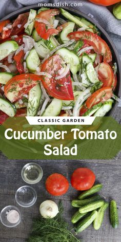 This cucumber tomato salad is easy to make and perfect for the summertime. This salad pairs well with any grilled meats, it is super easy to make and made of veggies everyone has at home at all times. This salad is super simple, yet full of flavor. #cucumbertomatosalad #russiansalad #salad #summersalad #easysaladrecipes #sidesalads #sidedish