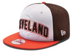 NFL Cleveland Browns Draft 9Fifty Snapback Cap, Black/White/Orange, One Size Fits All by New Era. $22.99. Color-blocked crown Contrast-colored visor, top button, and plastic snap closure Eyelets for ventilation. Adjustable hat. NFL? team location and logo embroidered on frontTeam name embroidered on back. 100% cotton. Officially licensed Made in China. This Cap Will Be Worn On Draft Day 2012.  This Tri-Tone New Era® 9Fifty™ Snapback Cap Features A White Front, Wi...