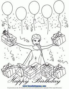 Disney Queen Elsa Bday Coloring Page