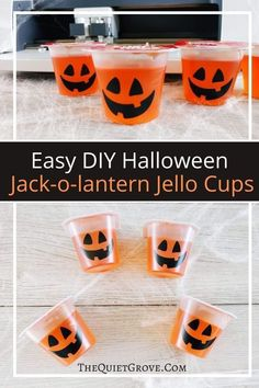 Jack-o-lantern Jello Cups are super easy to make using vinyl & a Cricut. They're a perfect treat for Halloween parties or kids lunches! #CricutCreated #CricutMade #HalloweenTreats #HalloweenDIY Halloween Jack, Halloween Parties, Halloween Treats, Jello Cups, Board For Kids, Jack O, Craft Tutorials, Lunches, Diy Tutorial