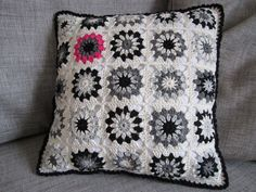 Black-White-Grey cushion with a little pop of colour....via Color 'n Cream blog