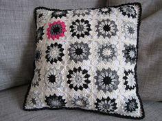 Black-White-Grey cushion with a little pop of colour....via Color 'n Cream blog