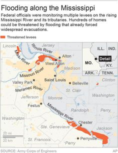 ST. LOUIS (AP) — A rare winter flood that brought record crests along the Mississippi River in Missouri and Illinois and swamped parts of southwest Missouri caused evacuations and at least 20 deaths, with the threat of more flooding expected to last until early next week.