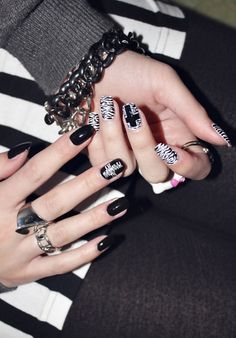 zebra print and cross nails