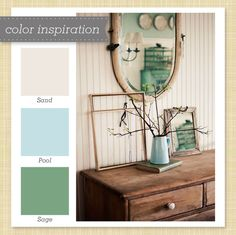 tan blue green color palette  maybe go richer....I love this color combo with a rustic work table in the kitchen