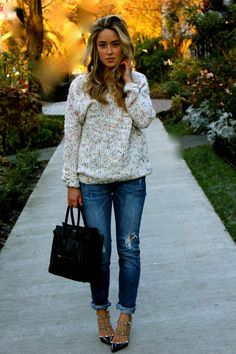 { sweater paired with rolled up jeans and Valentino shoes }